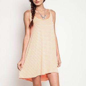NWT Kori  Stripe Tank Dress Neon Orange/White